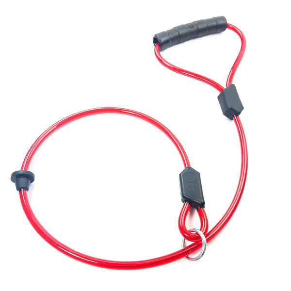 Red Choke Dog Leash with Black Handle on white background. The material is slightly transparent revealing a cable inside.