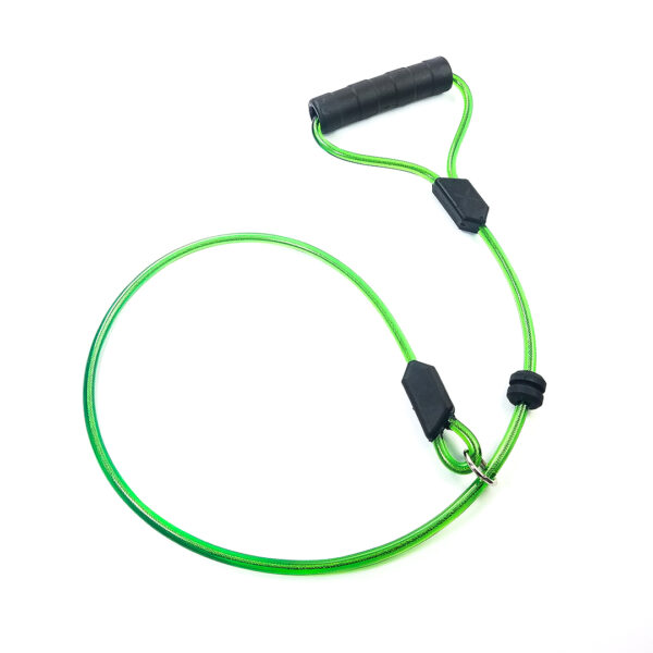 Green Choke Dog Leash with Black Handle on white background. The material is slightly transparent revealing a cable inside.