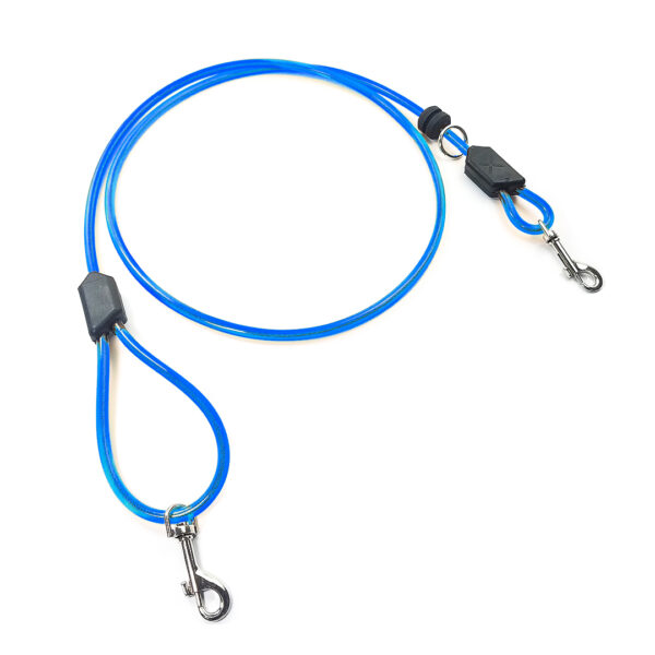 Blue Dog Leash with a metal clip on both ends. The material is polyurethane and it is slightly transparent revealing a cable inside.